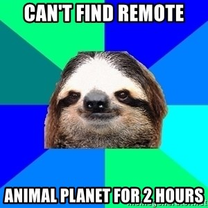 Socially Lazy Sloth - CAn't find remote animal planet for 2 hours