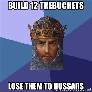 Age Of Empires - build 12 trebuchets lose them to hussars