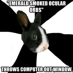 "Roleplaying Rabbit - ""Emerald smoked ocular orbs"" Throws computer out window"
