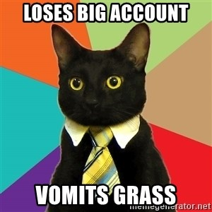 Business Cat - loses big account vomits grass