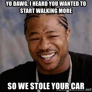 Yo Dawg - yo dawg, i heard you wanted to start walking more so we stole your car