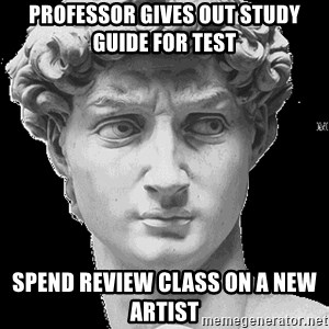 David Art History - Professor gives out study guide for test spend review class on a new artist