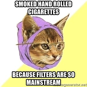 Hipster Kitty - SMOKEd HAND ROLLED CIGarettes Because filters are so mainstream