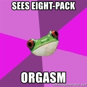 Foul Bachelorette Frog - sees eight-Pack orgasm