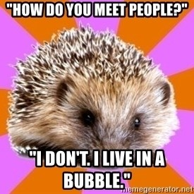 """Homeschooled Hedgehog - """"How do you meet people?"""" """"I don't. I live in a bubble."""""""