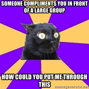 Anxiety Cat - someone compliments you in front of a large group how could you put me through this
