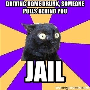 Anxiety Cat - driving home drunk, someone pulls behind you jail