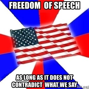 American Flag - Freedom  of Speech As long as it does not contradict  what we say