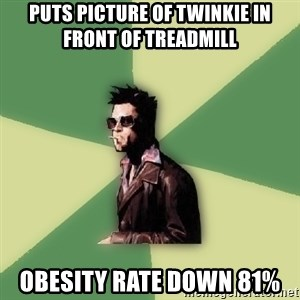 Tyler Durden - puts picture of twinkie in front of treadmill obesity rate down 81%