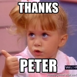 thumbs up - thanks peter