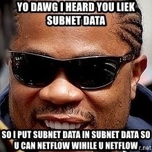 Xzibit - yo DAWG I HEARD YOU LIEK SUBNET DATA SO I PUT SUBNET DATA IN SUBNET DATA SO u can netflow wihile u netflow