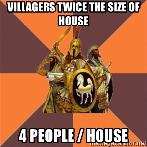 Age of Empires '97 - villagers twice the size of house 4 people / house
