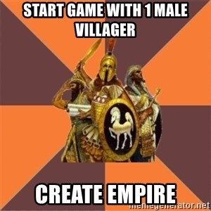 Age of Empires '97 - start game with 1 male villager create empire