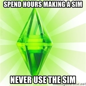 Sims - Spend hours making a sim never use the sim