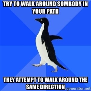Socially Awkward Penguin - Try to walk around sombody in your path they attempt to walk around the same direction