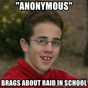 """Script Kiddie Anon - """"anonymous"""" brags about raid in school"""