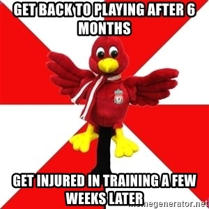 Liverpool Problems - GET BACK TO PLAYING AFTER 6 MONTHS GET INJURED IN TRAINING a few weeks later