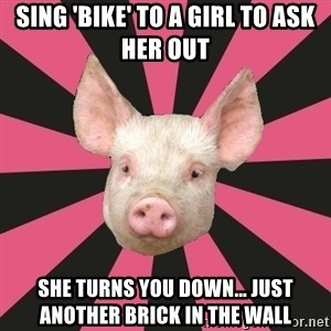 Pink Floyd Fan Pig - sing 'bike' to a girl to ask her out she turns you down... just another brick in the wall