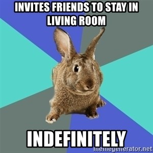 Roommate Rabbit - invites friends to stay in living room indefinitely