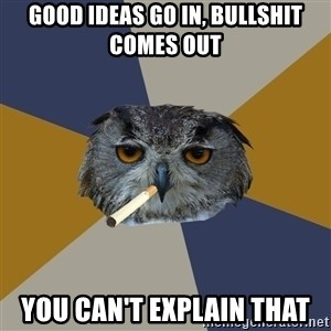 Art Student Owl - good ideas go in, bullshit comes out you can't explain that