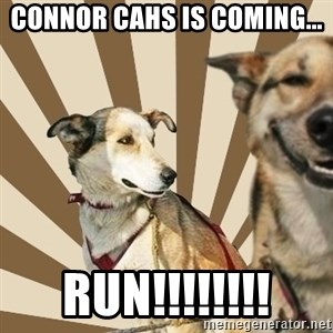 Stoner dogs concerned friend - Connor cahs is coming... run!!!!!!!!