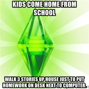 Sims - kids come home from school walk 3 stories up house just to put homework on desk next to computer.