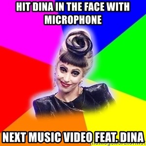 Lady Gaga Troll - hit dina in the face with microphone next music video feat. dina