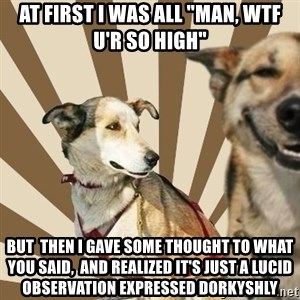 "Stoner dogs concerned friend - At first i was all ""man, WTF U'R SO HIGH"" But  then I GAVE SOME THOUGHT TO WHAT YOU SAID,  AND REALIZED IT'S JUST A LUCID OBSERVATION EXPRESSED DORKYSHLY"