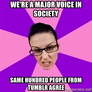 Privilege Denying Feminist - We're a major voice in society same hundred people from tumblr agree