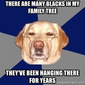 Racist Dog - There are many blacks in my family tree They've been hanging there for years
