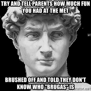 """David Art History - Try and tell parents how much fun you had at the MET brushed off and told they don't know who """"brugas"""" is"""