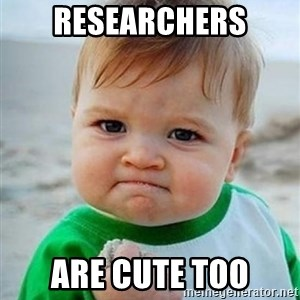 victory kid - Researchers are cute too