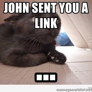 Paranoid cat - John sent you a link                  ...