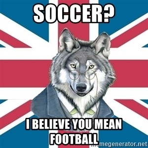 Sir Courage Wolf Esquire - soccer? i believe you mean football