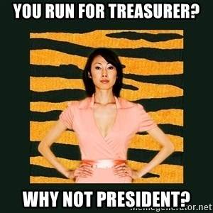 Tiger Mom - You run for treasurer? Why not president?