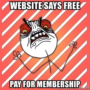 iHate - Website says free Pay for membership