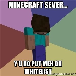 Depressed Minecraft Guy - MINECRAFT SEVER... Y U NO PUT MEH ON WHITELIST