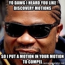 Xzibit - yo dawg i heard you like discovery motions so i put a motion in your motion to compel