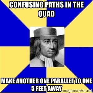 George Fox - confusing paths in the quad make another one parallel to one 5 feet away