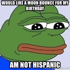 Sad Frog Color - would like a moon bounce for my birthday am not hispanic