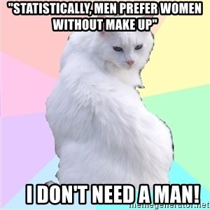 "Beauty Addict Kitty - ""Statistically, men prefer women without make up""     I don't need a man!"