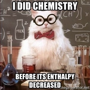 Chemistry Cat - I did chemistry Before its enthalpy decreased