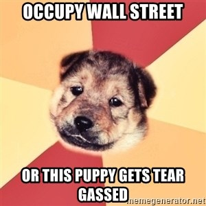 Typical Puppy - occupy wall street Or this puppy gets tear gassed