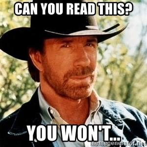 Brutal Chuck Norris - Can you read this? you won't...
