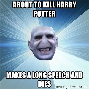 Awkward Wizard - about to kill harry potter makes a long speech and dies