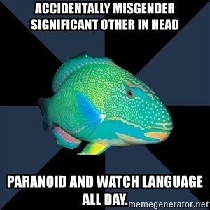Trans Parrot Fish's Significant Other - Accidentally Misgender Significant other in head paranoid and watch language all day.