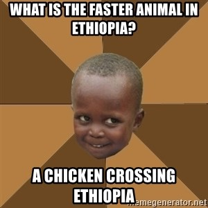 Homeless Haitian Child - what is the faster animal in ethiopia? a chicken crossing ethiopia