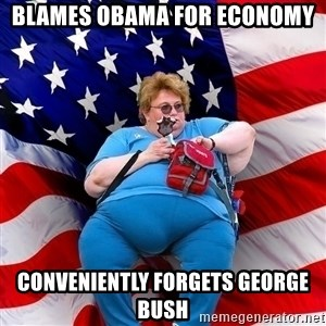 Conservative - blames obama for economy conveniently forgets george bush