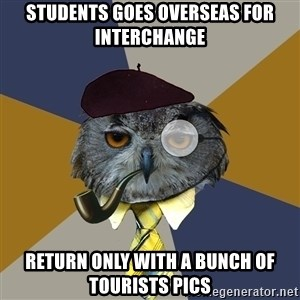 Art Professor Owl - Students goes overseas for interchange Return only with a bunch of tourists pics
