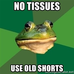 Foul Bachelor Frog - No tissues Use old shorts
